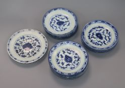 Eleven Chinese blue and white plates, 18th century largest diameter 16cm