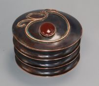 Sam Fanaroff. A circular copper box and cover inset red cabochon stone numbered 2014 diameter 14.