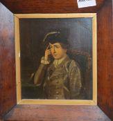 19th century Continental School, oil on board, Half length portrait of a seated gentleman, 16.5 x