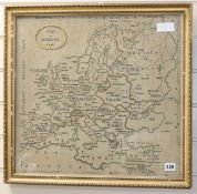 A 19th century needlework map sampler by H. Rait, 47 x 50cm