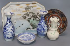A Japanese Imari plate, two vases, a tray, a Belleek vase and two saucers tallest 21cm
