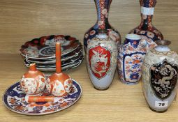 A pair of Japanese cloisonne vases, three Imari vases and four plates etc
