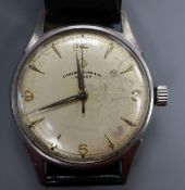 A gentleman's 1960's? stainless steel manual wind wrist watch, retailed by Camerer Cuss & Co,