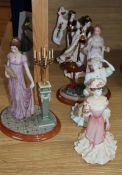 Two Coalport Madam Butterfly figures, two Jane Austen figures and two other Coalport figures