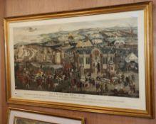 Societatias Antiquariorum, pair of coloured engravings, Embarkation of Henry VIII and Field of the
