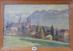 Continental School, oil on canvas board, View of an Alpine town, unsigned, 34 x 52cm