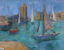 Frank Griffiths (1889-1979), oil on board, The Towers, La Rochelle, inscribed verso, 40 x 51cm,