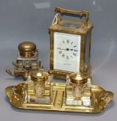 A novelty golfing brass inkwell, a two bottled inkwell and a Mappin & Webb timepiece, 11.5cm