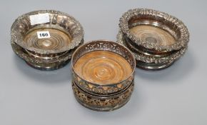 Six Victorian silver-plated wine coasters