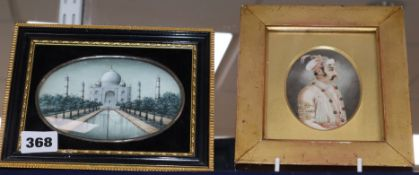 19th century Indian School, two miniatures on ivory, Portrait of a nobleman and View of the Taj