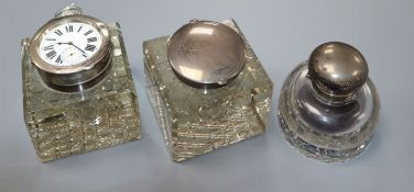 An Edwardian silver mounted cut glass inkwell/ pocket watch holder, John Grinsell & Sons, London,