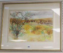 Alfred Hackney (1926-) watercolour, Autumn landscape, signed, 37 x 51cm