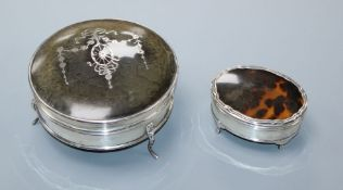 Two George V silver and tortoiseshell mounted trinket boxes, the largest by Mappin & Webb,