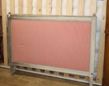 A Louis XVI style painted head and foot upholstered bedstead and mattress W.5ft.