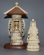 A Japanese carved deity and a carved bone shrine deity height 13cm