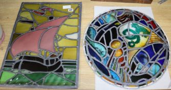 Two stained glass panels largest 53 x 40cm