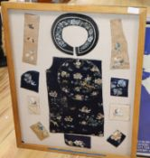 A collection of 18th/19th century Chinese embroidered silk fragments, framed