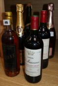 Two bottles of Montagne Saint Emilion, 1993, one Carte Noir Cevons, 1994, one Juve & Camps, Pinot