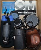 An Olympus camera and lenses