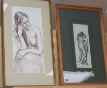 Llewellyn Petley Jones, two pastel drawings, Embracing Couple and Female Nude, signed, 25 x 9cm
