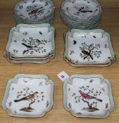 A Berlin outside decorated part dessert service (19 pieces, damage)