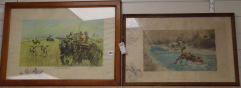 Charles 'Snaffles' Johnson Payne (1884-1967), signed coloured lithographs, 'The Kadir Bandobast' and