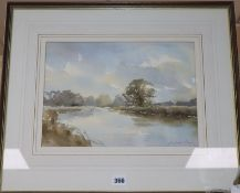 Andrew King (b.1956), watercolour, Reflection, The Ouse, signed, 25 x 35cm