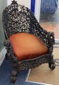 A Burmese hardwood chair