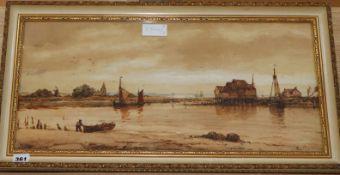 Richard Henry Nibbs (1816-1893), watercolour, Bosham Harbour, signed, 26 x 59cm