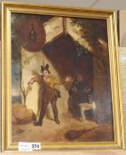 19th century English School, oil on panel, Husband and wife at a tavern doorway, 39 x 31cm