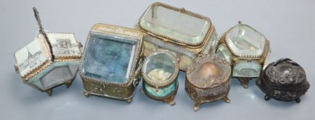 Five assorted 19th century and late gilt metal mounted glass panelled boxes/caskets and two other