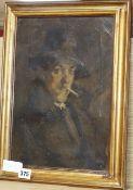 English School c.1900, oil on canvas, Portrait of a gentleman smoking a cigarette, 34 x 24cm
