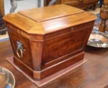 An early 19th century mahogany sarcophagus wine cooler W.75cm