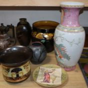 A Bretby jardiniere, two studio vases and a Chinese famille rose vase