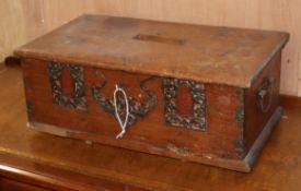 A wedding dowry box in teak, early 20th century W.55cm