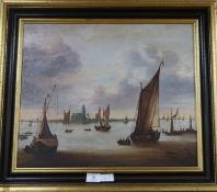 Continental School, oil on canvas, 17th century Flemish coastal scene, 45 x 54cm