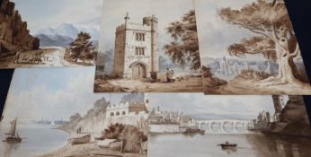 Twelve 19th century Italian landscape watercolours