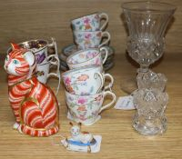 A Victorian commemorative glass goblet, a pair of Spode botanical cups, a Doulton coffee set, a