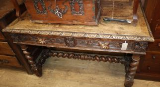 A late 19th century Flemish carved oak side table W.114cm
