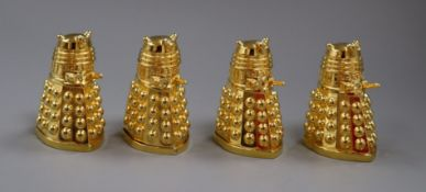 Doctor Who - retailed by Strand Stamp Centre - two pairs of 'Dalek' salt and pepper pots in gilt