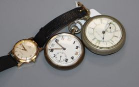 A gentleman's 1960's 9ct gold Omega Seamaster manual wind wrist watch and two pocket watches