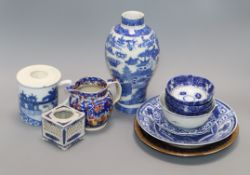 A group of Chinese and English blue and white ceramics tallest 23cm