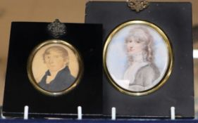 English School (19th century), miniature portrait of a young lady and another of a young gentleman