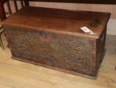 A 19th century Javanese carved teak dowry box W.71cm
