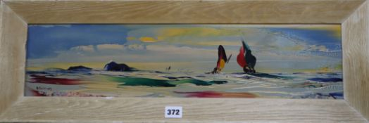 George Richard Deakins (1911-1982) oil on board, Yachts at sea, signed, 14 x 59cm