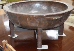 A large Korean wood bowl diameter 77cm