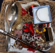 Mixed items including silver cane handle, silver hand brush and assorted costume jewellery.