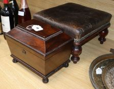 A tea caddy and a leather covered stool