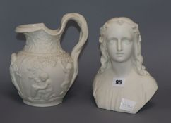 A 19th century parian bust and a similar jug jug to handle 22cm