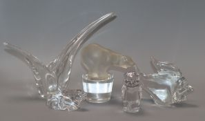 A Sevres glass polar bear and four others